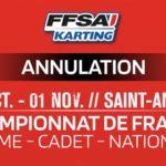 CHAMPIONNAT DE FRANCE SPRINT - Annulation définitive des Championnats de France Minime, Cadet et Nationale 2020